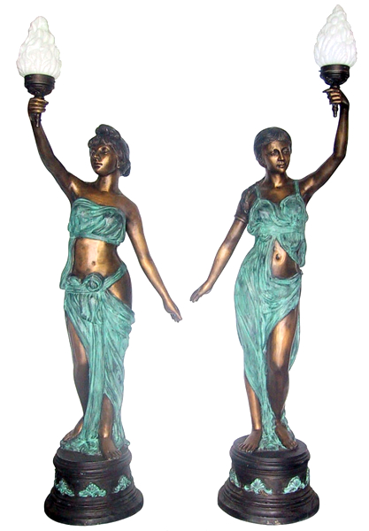 Bronze Ladies Torchiere Lighting - DD L-034