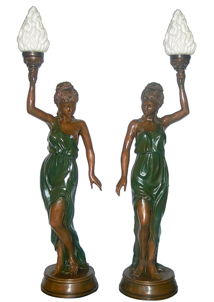 Bronze Ladies Torchiere Lighting - DD L-040