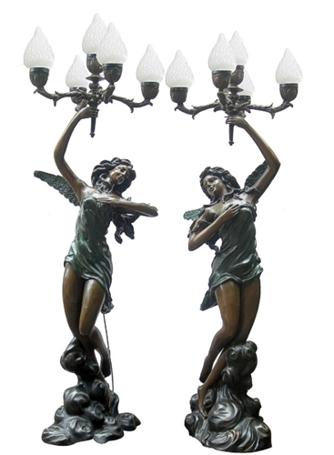 Bronze Ladies Torchiere Lighting - DD L-041