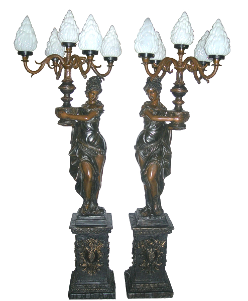 Bronze Ladies Torchiere Lighting - DD L-042