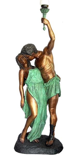 Bronze Grecian Lady & Man Lamp Torchiere - DD L-044