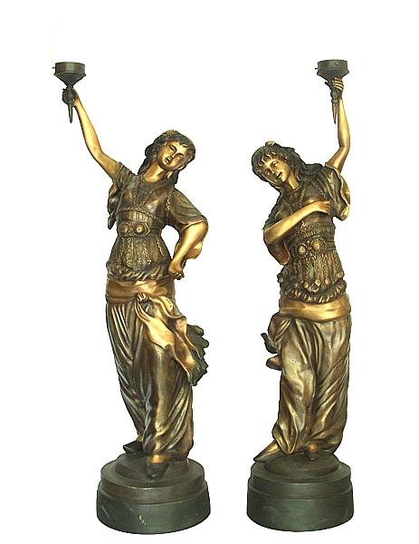 Bronze Ladies Torchieres - DD L-045