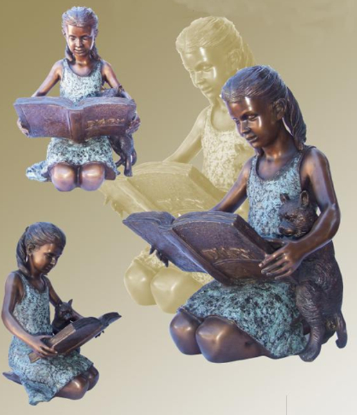 Bronze Girl Reading Puppy Statue - KT P-861