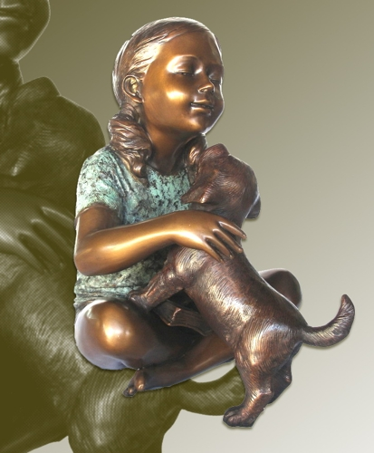 Bronze Girl & Dog Statue - KT P-854