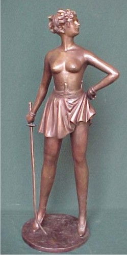 Bronze Lady with Sword Statue - PA S-1068