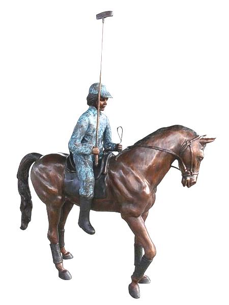 Bronze Polo Player & Horse Statue - SB SBF3-041