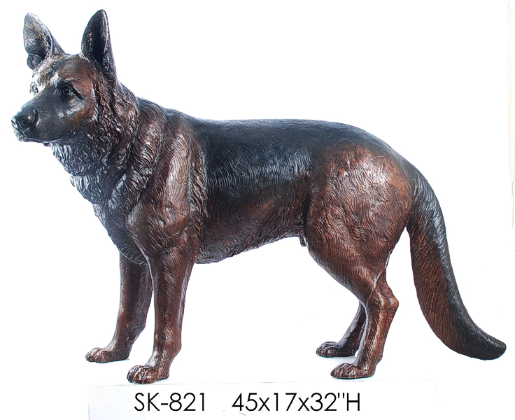 Bronze German Shepherd Dog Statue - ASI SK-821