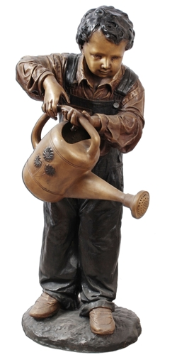 Bronze Boy Watering Can Statue - ASI TF1-251S