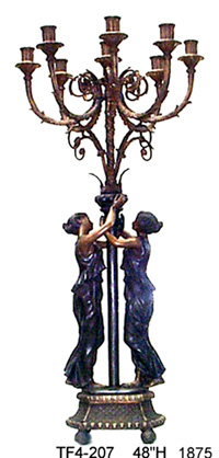 Bronze Ladies Candelabra or Torchiere Light - ASI TF4-207