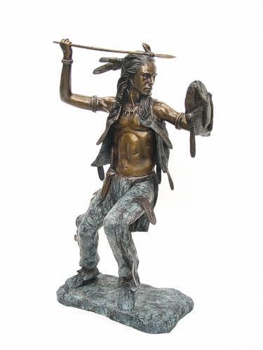 Bronze Indian Warrior Spear Statue - KT TH-346