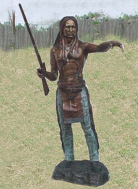 Bronze Indian Warrior Statue - PA W-1016