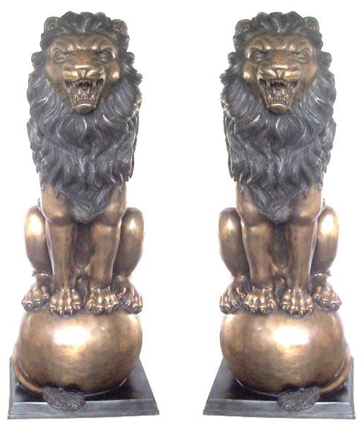 Bronze Lion Statues - DD A-103A