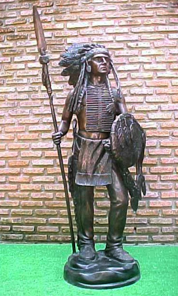 Bronze Indian Warrior Statue - PA W-1032