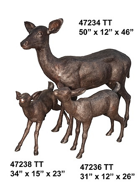 Bronze Deer Family Statues (2019 Prices) - AF 47234-38TT