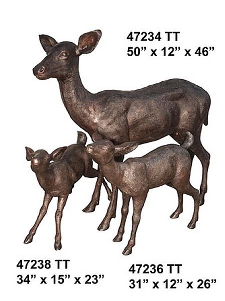 Bronze Doe & Fawns Statues - AF 47234-38TT