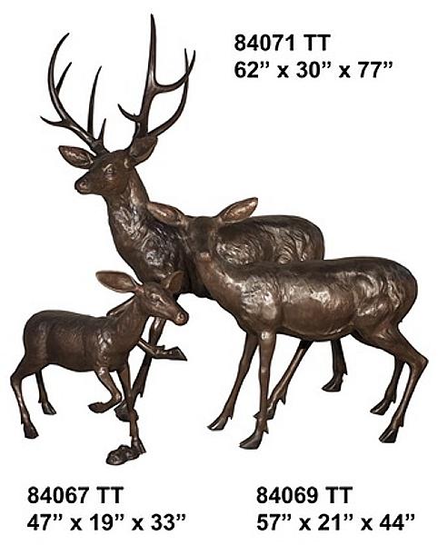 Bronze Deer Buck, Doe & Fawn Statues - AF 84067-71TT