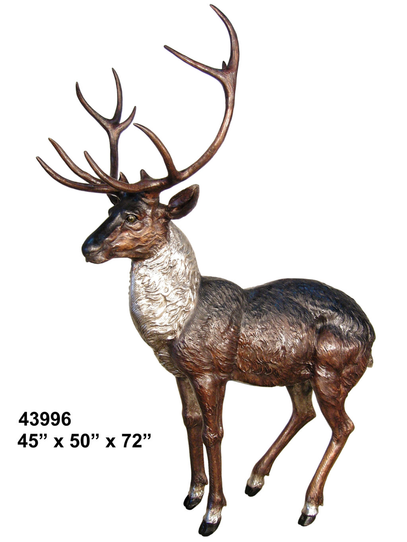 Bronze Buck Deer Statue - AF 43996