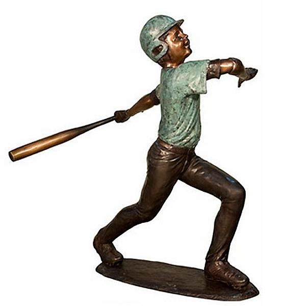 Bronze Baseball Batter Statue - AF 94382