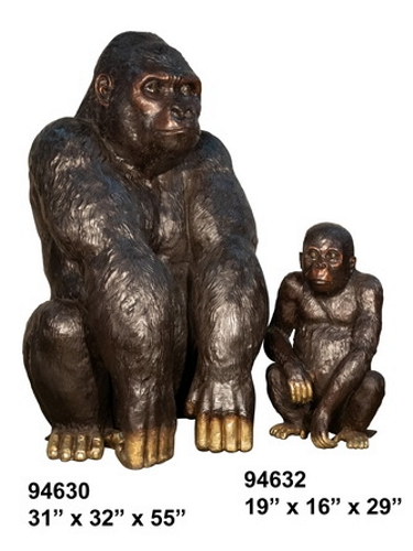 Bronze Mother Gorilla & Baby Statue - AF 94630-32