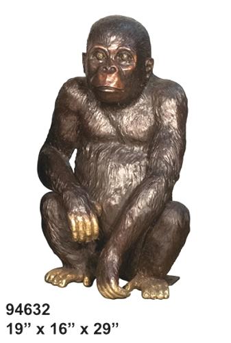 Bronze Baby Gorilla Statue