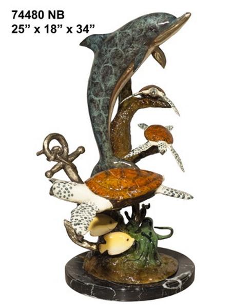 Bronze Dolphin Statue - AF 74480NB