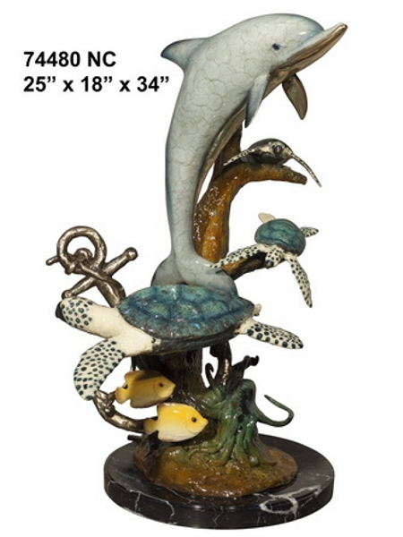 Bronze Dolphin Statue - AF 74480NC