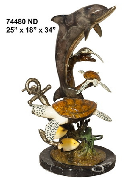 Bronze Dolphin Statue - AF 74480ND
