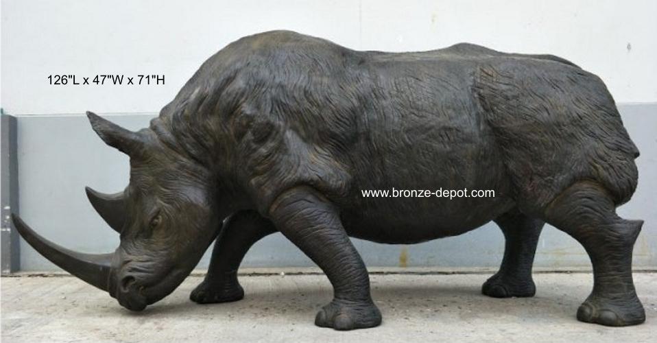 Bronze Rhinoceros Statue - PA A-1202