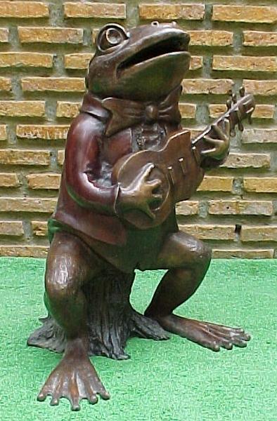 Bronze Frog Guitar Fountain - PA F-1048