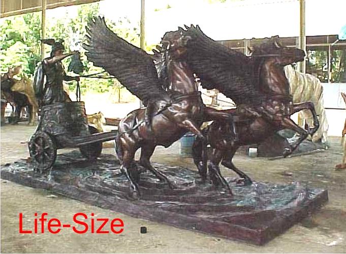 Bronze Pegasus Chariot Statue - PA S-1089