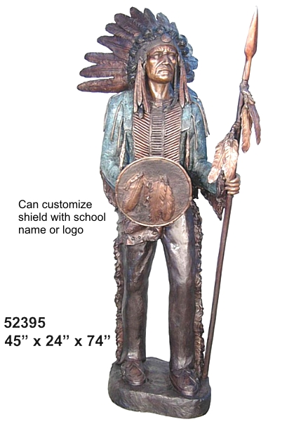 Bronze Indian Chief Statue - AF 52395 BL
