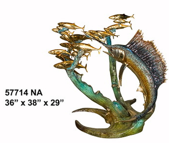 Bronze Sailfish Sculpture Statue - AF 57714-NA-S