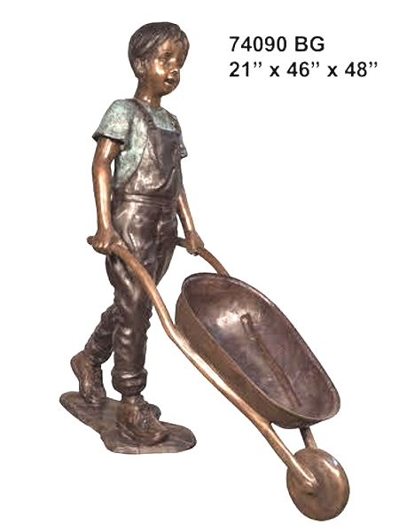 Bronze Boy Wheelbarrow Statues - AF 74090BG