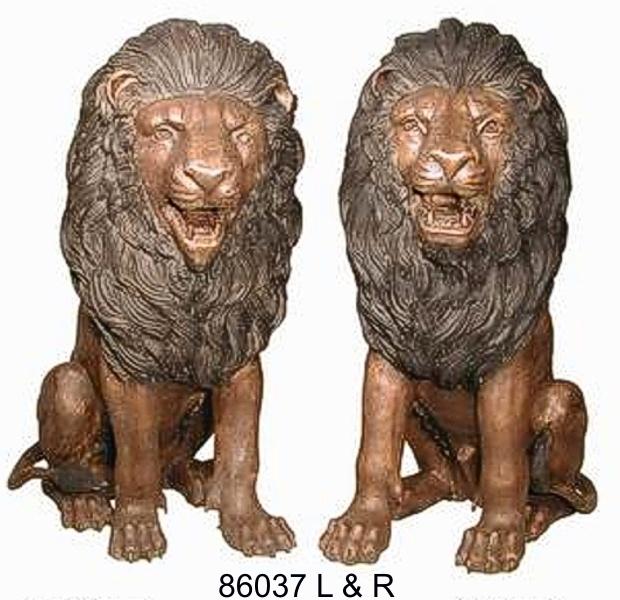 Bronze Lion Statues - AF 86037 L & R