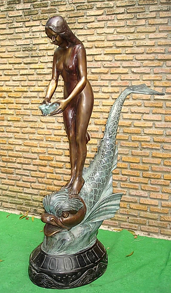 Bronze Nude Fish Fountain - PA F-1005