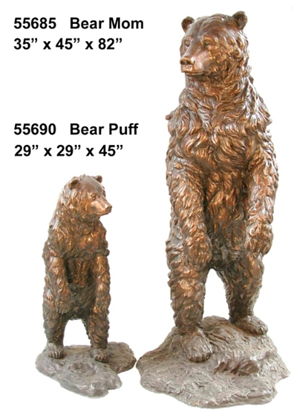 Bronze Grizzly Bear & Cub Statues - AF 55685-90