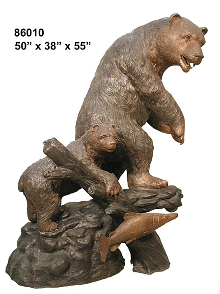 Bronze Grizzly Bear & Cub Statues - AF 86010