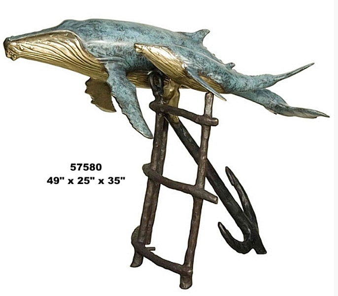 Bronze Humpback Whale Calf Fountains - AF 57580-F