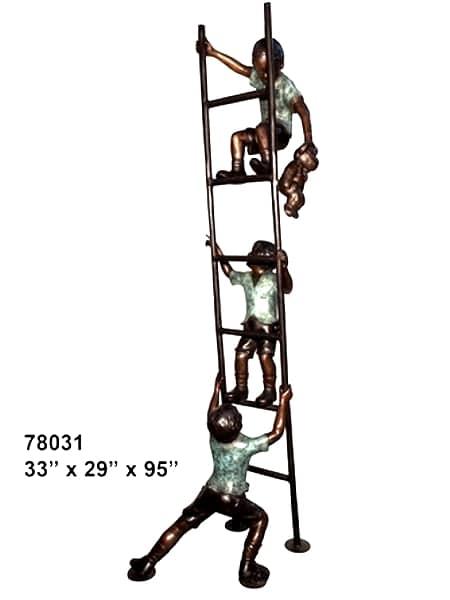 Bronze Boys Climbing Ladder Statues - AF 78031
